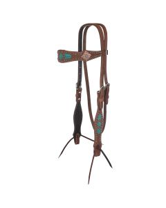 Molly Powell Turquoise and Rawhide Browband Headstall
